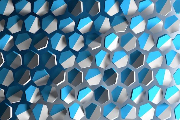 Abstract background with white and blue hexagonal shapes flying in space. randomly arranged hexagons.