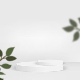 白い色の幾何学的な 3 d 表彰台と抽象的な背景