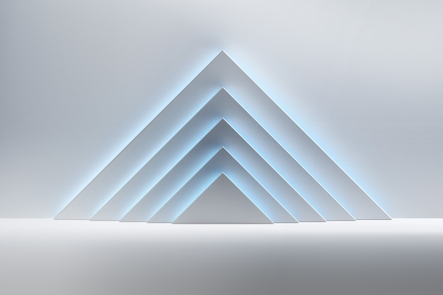Abstract background with white triangular shapes illuminated by blue light over shiny reflective surface. room space with geometric primitive shapes pyramids.