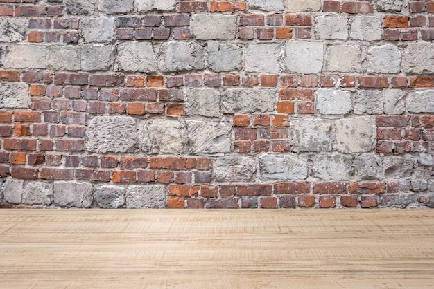 Abstract background of wooden plank and brick-stone wall