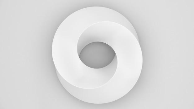 추상적인 배경 작업입니다. 흰색 background.mobius 스트라이프 패턴의 뫼비우스 스트립 모양, 과학 교육, 3d 렌더링