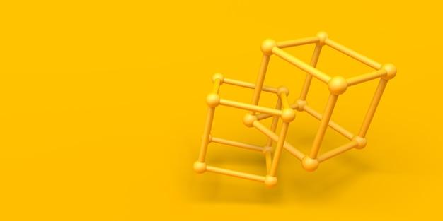 抽象的な背景。原子の立方体を持つ黄色の組成物。 3dイラスト。バナー。