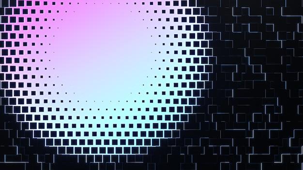 추상 backround. 빛나는 네온 가장자리가있는 검은 색 큐브. 빛나는 그라데이션