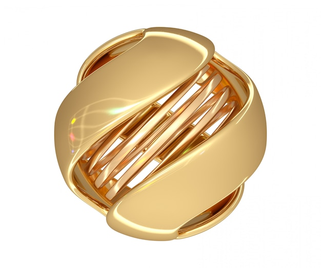 Abstract ball of gold color with a spiral in the center and color highlights on the surface. 3d render.