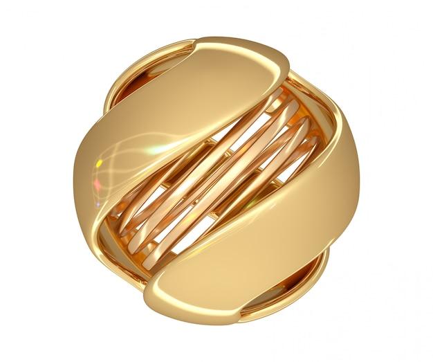 Абстрактный шар золотого цвета со спиралью в центре и цветными бликами на поверхности. 3d визуализация.