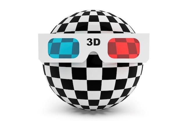 흰색 배경에 3d 안경이 있는 추상 공