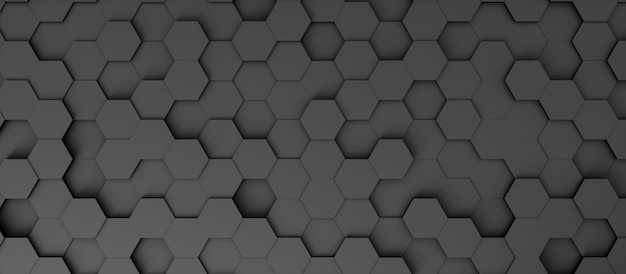 Abstract banner background in the form of dark hexagons, 3d illustration