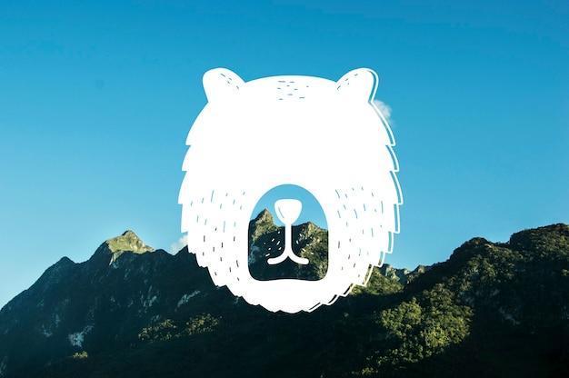 Abstract bear head wildlife animal banner artwork