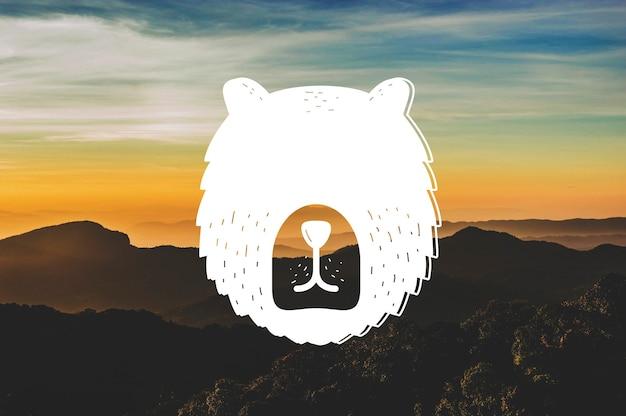 추상 곰 머리 야생 동물 동물 배너 작품