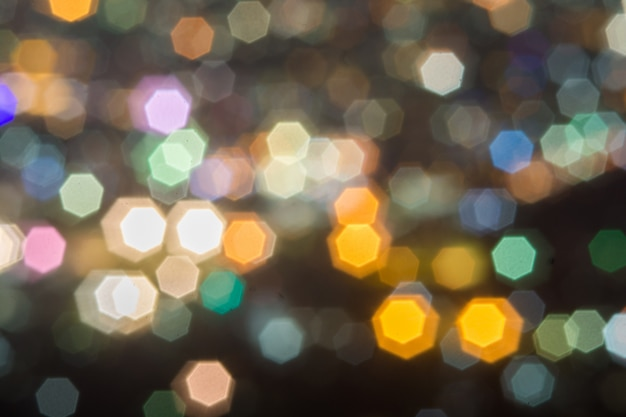 Abstract, beautiful bokeh landscape of city at night