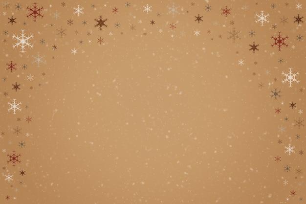 떨어지는 눈송이의 추상 베이지색과 갈색 크리스마스 휴일 겨울 배경 프레임