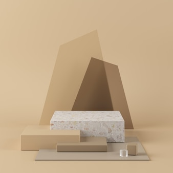 Abstract beige background with geometric shape podium. 3d rendering for product.