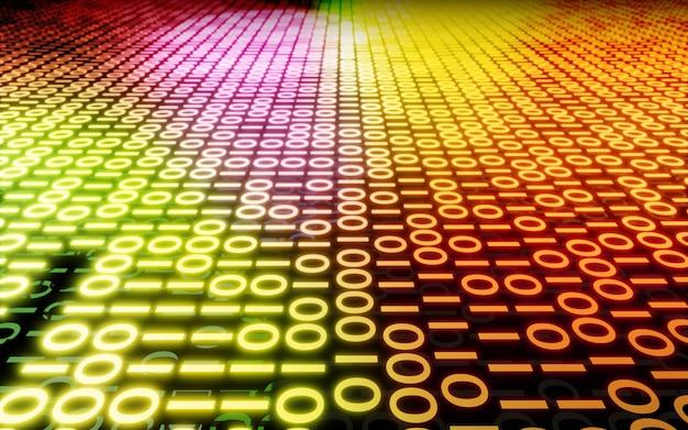 抽象バイナリデータコードデジタル背景オレンジイエローピンク