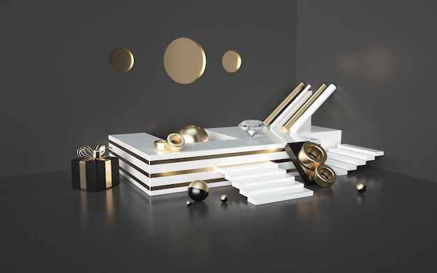 Abstract black 3d renderings with gold striped podium and gift box for a product display