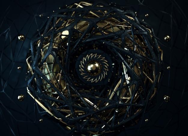Абстрактная черно-золотая композиция