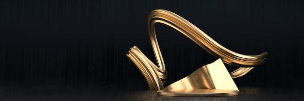 제품 디스플레이, 3d 렌더링 광고에 대 한 추상 검정색과 금색 무대 플랫폼 연단.