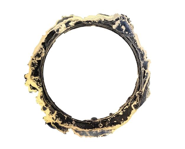 抽象的な黒と金の水彩画、円、古いフレーム、白で隔離の筆筆ストローク、創造的なイラスト、ファッションの背景、色パターン、ロゴ。