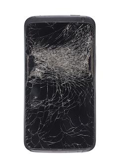 깨진 유리 깨진 전화 화면의 추상 검은 배경