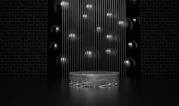 Abstract black background with geometric shape podium for product. 3d rendering.