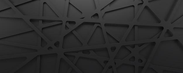부드러운 줄무늬가있는 추상 검정색 배경. 3d 렌더링 기하학적 모양입니다.