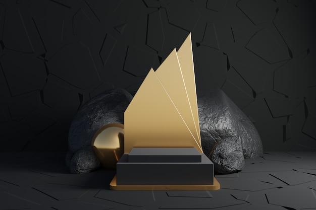 Абстрактный черный ящик с камнями и золотым декором на черном фоне.