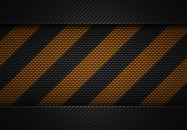 Abstract black carbon textured material design with warning tape