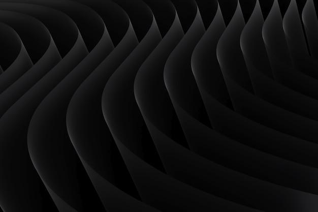 추상 검은 곡선 라인 텍스처입니다. 종이 시트 파도 배경. 줄무늬 파도 패턴입니다. 3d 렌더링