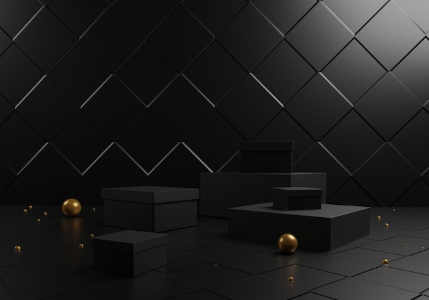 Abstract black gift boxes and podium with golden balls on black background.