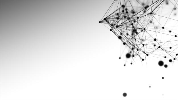 공간에서 추상 검은 선, 점 및 삼각형