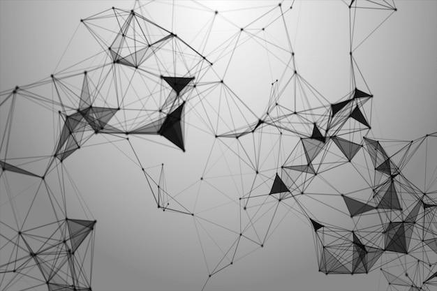 Абстрактные черные линии, точки и треугольники в пространстве
