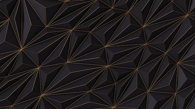 Абстрактный черный фон с низким поли с копией пространства и золотой полосой 3d визуализации