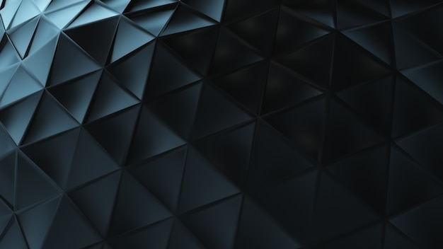 接続された三角形から作られた抽象的な黒いプラスチックの表面。
