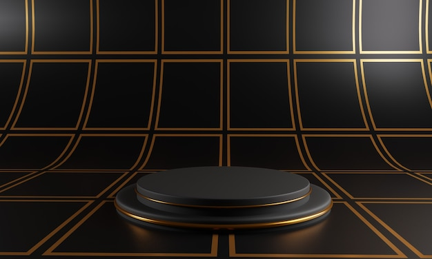Abstract black podium on black square pattern background.