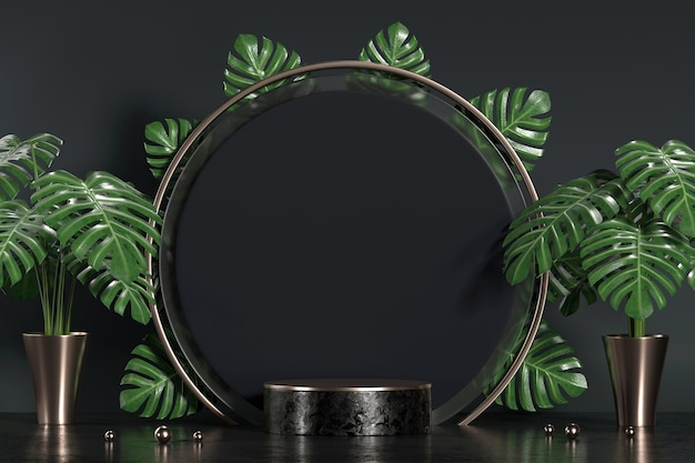 Monstera 잎 장식 3d 배경 렌더링 제품 디스플레이 쇼케이스에 대 한 추상 검은 연단