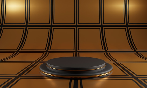 Abstract black podium on gold square pattern background.