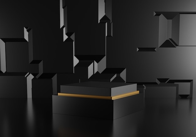 Abstract black podium with golden decoration on black background.
