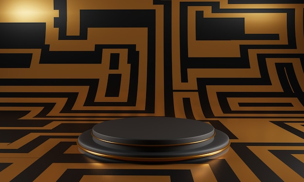 Abstract black podium with golden puzzle decoration on gold background.