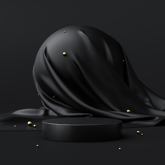 추상 검은 제품 배경 스탠드 또는 빈 배경으로 고급 광고 디스플레이에 연단 받침대. 3d 렌더링.