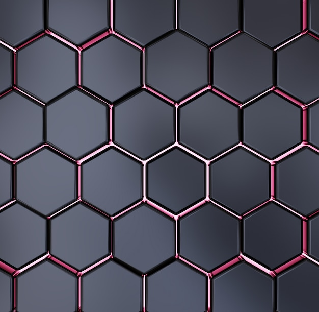 Abstract black and red hexagon texture background pattern