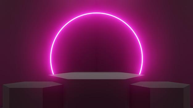 추상 블랙 룸과 네온 빛나는 핑크 빛의 루프와 3 개의 육각형 연단, 3d 렌더링