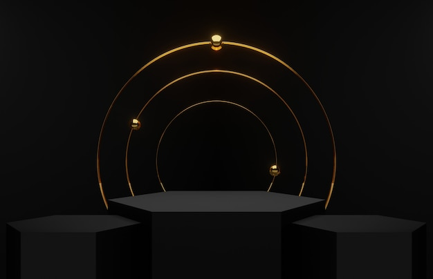 Abstract black room cwith three hexagons podiums and a golden hoop, 3d render