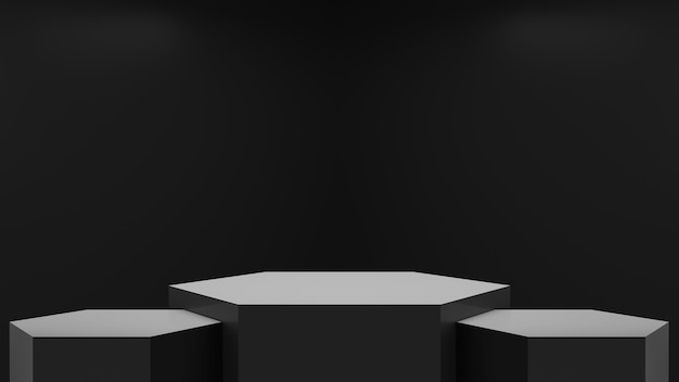 Abstract black room with three hexagons podiums, 3d render