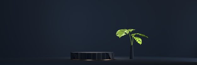 Abstract black stage platform podium, for advertising product display, 3d rendering.