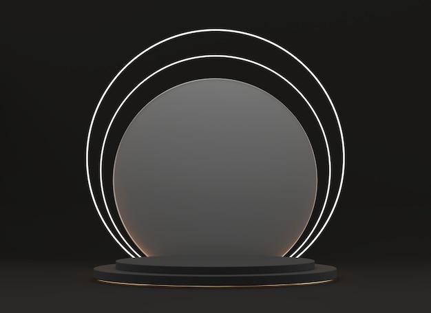 추상 검은 무대 플랫폼, 광고 제품, 3d 렌더링을위한 템플릿.