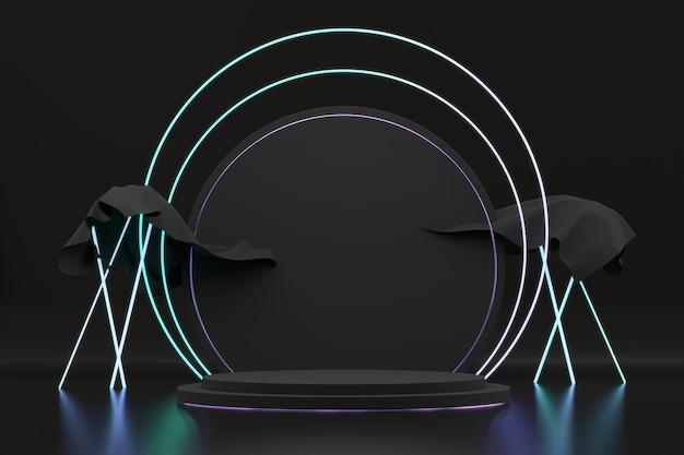 네온 불빛, 광고 제품, 3d 렌더링에 대 한 템플릿 추상 검은 무대 플랫폼.