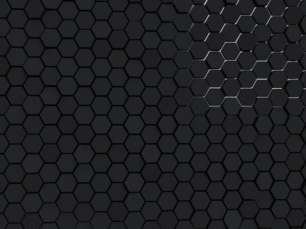추상 검은 벽 육각형 블록 배경 최소한의 빛 깨끗한 회사 벽 3d 기하학적