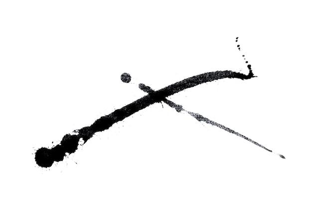 추상 검은 수채화 물감 페인트 시작 배경. 흰색 절연 검은 수채화 스플래시