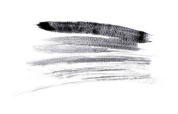 抽象的な黒い水彩絵の具のスプラッシュスペース。白に分離された黒の水彩スプラッシュ