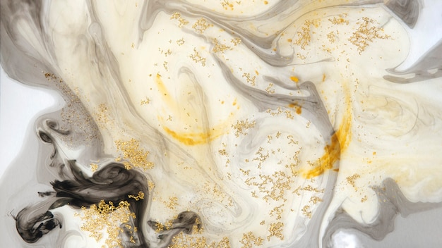 Abstract black watercolor with gold glitter background