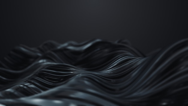 Abstract black wave on dark